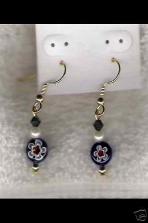 HANDCRAFTED Blue&Red Coin Bead W/ Swarovski Cryst Earrings