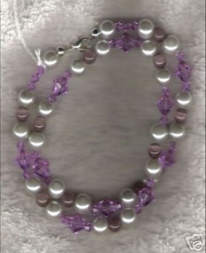 HANDCRAFTED Lavendar Cats Eye & Swarovski Crystal Necklace - 11091N