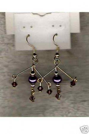 HANDCRAFTED Swarovski Crystal & Purple Glass Pearl Earrings NEW !