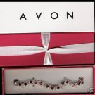 Avon Jeweltone Tennis Bracelet In Gift Box - Red