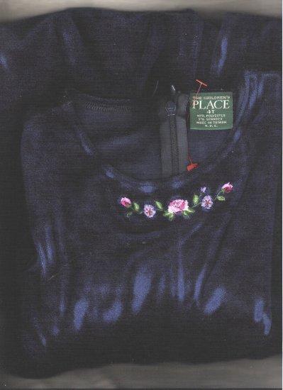 Little Girl Pantsuit Blue Velvet W/Embroidering 4T NWOT
