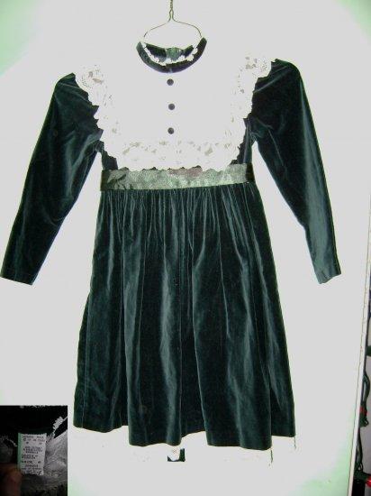 Beautiful Green Velvet & White Lace Girls Dress Sz6 NEW