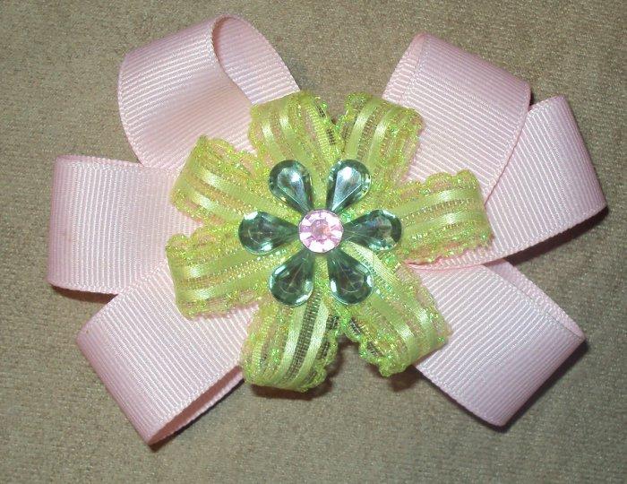 Light Pink & Green W/ Center Flower