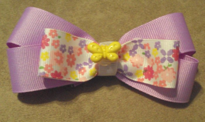 Lavender & Springtime Flowers Bow W/ Yellow Butterfly Center