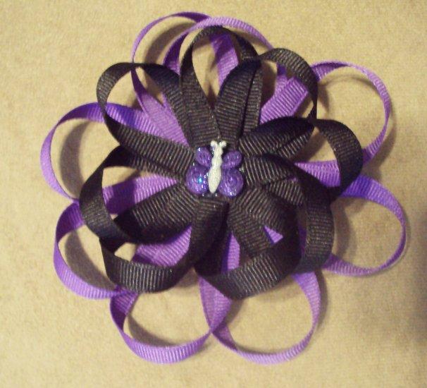 Dark Purple & Black Loop Bow W/ Glittery Butterfly Center