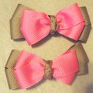 Brown & Hot Pink Pigtail Bows