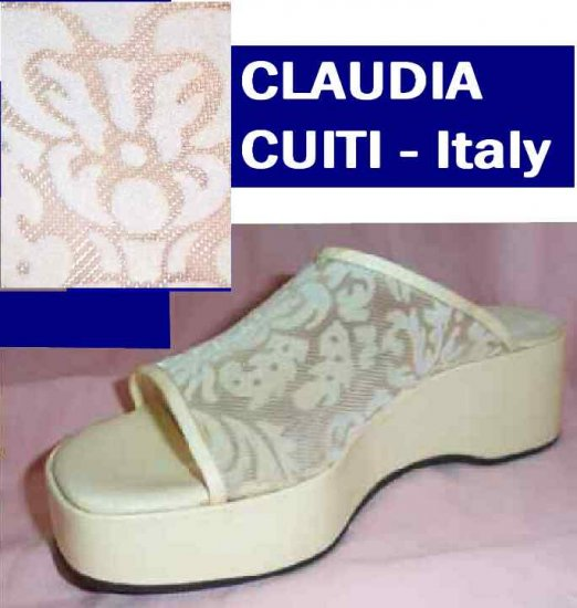Victorian Velvet Slides Clogs - Claudia Ciuti Italy - Beige - Retail $130 - YOUR PRICE $14.99 - 9M