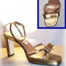 Bronze Leather Pumps Sandals - Ankle Strap wBow - Size 7 NEW - retail $99 - YOUR PRICE $12.99