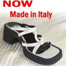 Italian Black-Soft Silver Platforn Slides Sandals - Retail $89 - YOUR PRICE $11.99 - sz 9