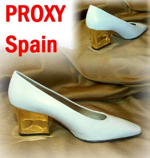 Artsy Cream Pumps wMetallic Gold Heel - Proxy Spain - Retail $99 - YOUR PRICE $15.99 - sz 8.5