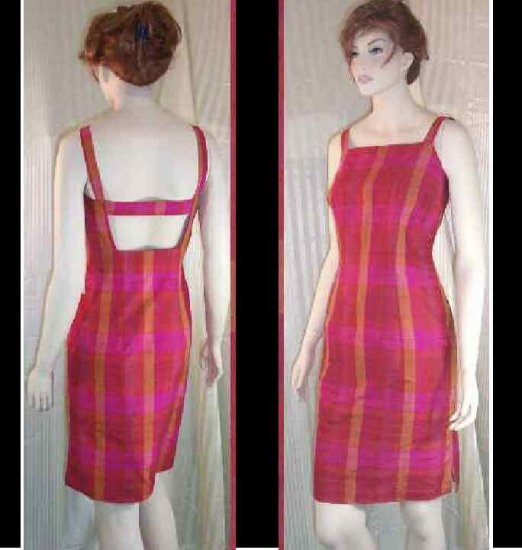 Shantung Silk Backless Dress by Victoria Pappas - Hot Plaid - retail $205 - YOUR PRICE $29.99 - sz 6