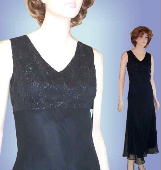 Layered Black Chiffon Gown - So alluring by FORWEAR  - Retail $220 - YOUR PRICE $32.99 - sz 10