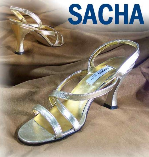 Brilliant Gold Sandals Pumps by Sacha of London - Retail  $89 - YOUR PRICE $12.99 - 10AA