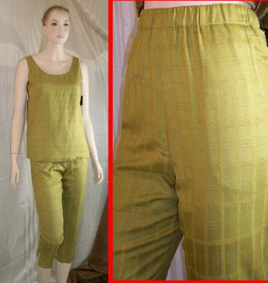 Texture Silk Tunic wPants by Ann May - Olive - Retail $278 - YOUR PRICE $29.99 - sz S
