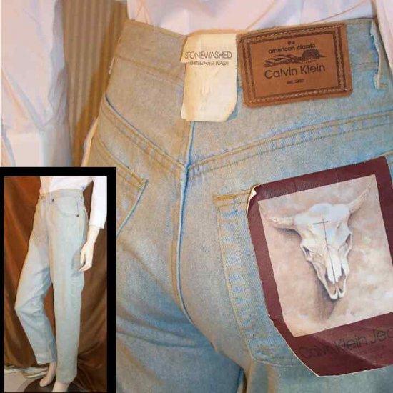 70s CALVIN KLEIN Stonewash Skinny Jeans - UNWORN wTags - waist 29 - YOUR PRICE $25.99