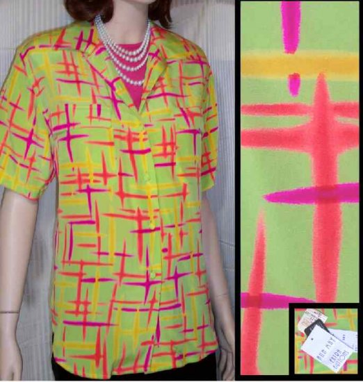 Ann May Electric 4-Color Silk Blouse  - Your Price $19.99 - Retail $161 - sz 12