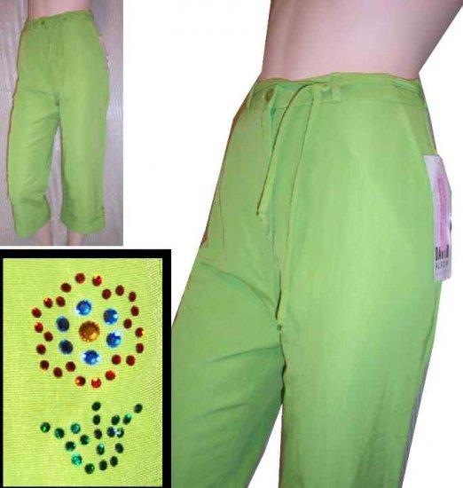 David Albow Lime Capris pants wRhinstone accent - $16.99 - Retail $130 - sz 6