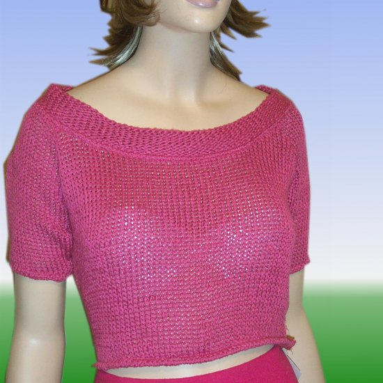 Nara Maglie Italian Crop Sweater * Sexy Wide Neck * x-large * $25.99 - Retail $159