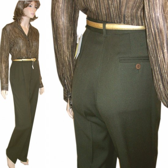 Barry Bricken Dark Green Gabardine Hem-to-measure pants $29.99 * sz 4 * Retail $196