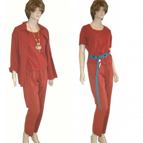 3-pc Natural Dye Pant Suit in Rust by Color Me Cotton * S-M * $17.99
