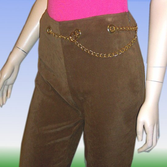 Sueded Hippy Pants wChain Belt by Work Order *YOUR PRICE $14.99 *Retail $120 * sz 10