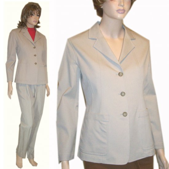 Emanuel Ungaro * Beige Stretch Cotton Blazer * sz 6 $29.99 - Retail $266