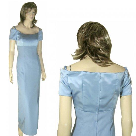 Vintage Designer Gown UNWORN in Satin & Crepe * Baby Blue * YOUR PRICE $29.99 * Medium