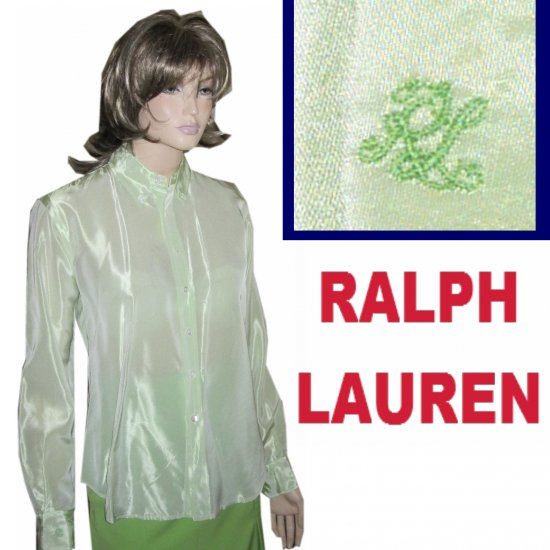 RALPH LAUREN Signature Shirt Blouse in Lime * sz 6 * YOUR PRICE $29.99 * Retail $245