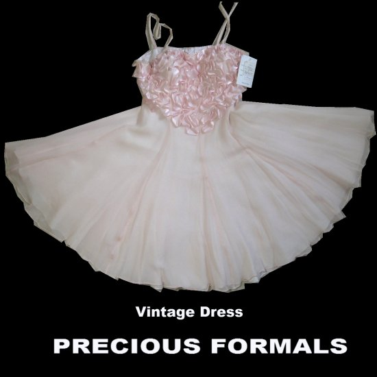 70s BALLERINA Baby Doll Dress by Precious Formals * UNWORN * Beads n Silk * sz S * $49.99