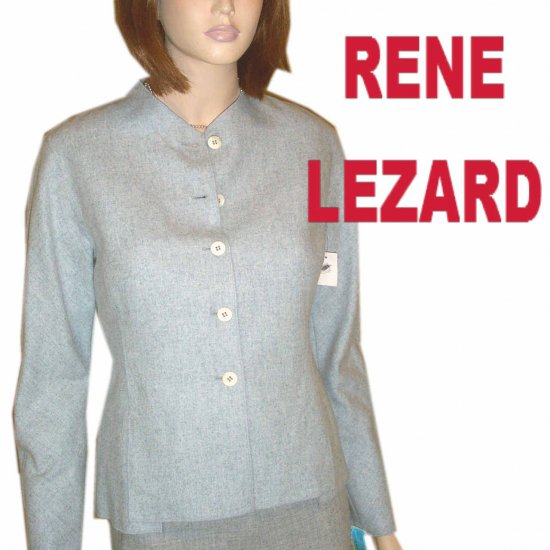 sz 6 - RENE LEZARD Gray Mohair-Wool Blazer Blouse - YOUR PRICE $46.99 - Retail $503