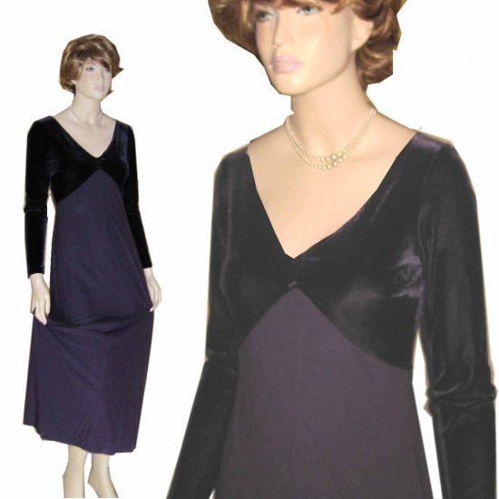 sz S-M - MSRP $269 - CHETTA B Velvet wKnit FLOWING MaxiDress - YOUR PRICE $29.99