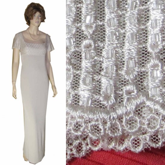 OLEG CASSINI Stunning Gown MSRP $500 Beads Lace - sz 12