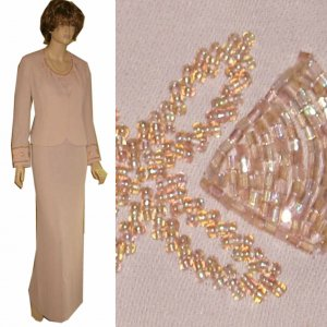 MAGALI Mother of the Bride Formal Beaded Suit MSRP $360 - sz 10 - Pale Peach