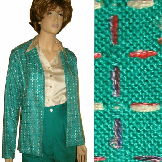 ANN MAY - SILK Tweed Blazer MSRP $265 - Emerald Green - sz S
