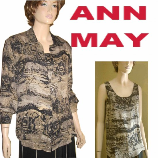 ANN MAY Out of Africa SILK 2pc Blouse Set - Retail $207 - sz S