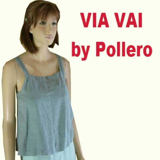 Natural Linen Baby Doll Tent Top by Via Vai - blue - M