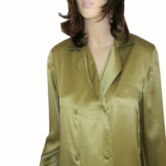 ANN MAY Liquid Silk Double-Breasted Blouse MSRP $165 - sz S - Peridot Green