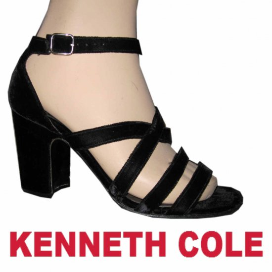 "sz 9-1/2 - KENNETH COLE Black Velvet Pumsp 3-1/2"" heel $39.99 - Retail $245"