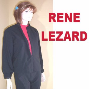 sz M/L - Rene Lezard Black Wool Zip Jacket - $59.99 - MSRP $500