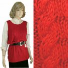 Red Cable Knit Tunic Sweater Shell by Dana B & Karen - size M - Retail $118