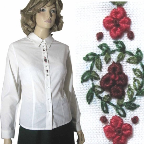 sz Med HAMMERSCHMID Bavarian Trachten Embroidered Shirt Blouse $35.99