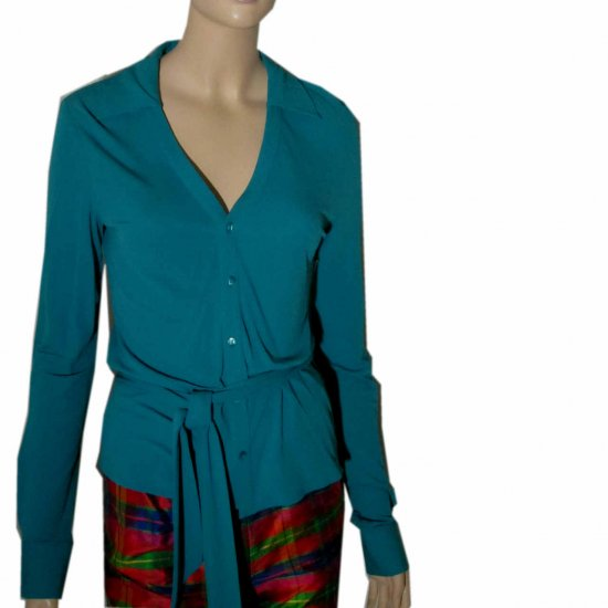 sz M - EQUIPMENT Knit Silk Blouse Cardigan wAscot - $29.99 - Retail $157 - aqua