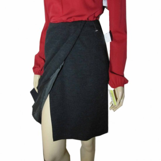sz 4 ANNE KLEIN Wool Wrap Skirt - Unique - Charcoal $29.99 - Retail $210