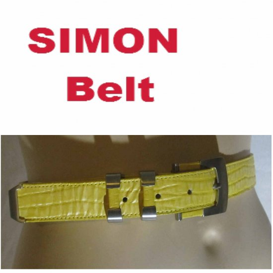 sz S - Lady's Pebbled Leather Belt in Yellow by Simon - Brushed Chrome Buckle