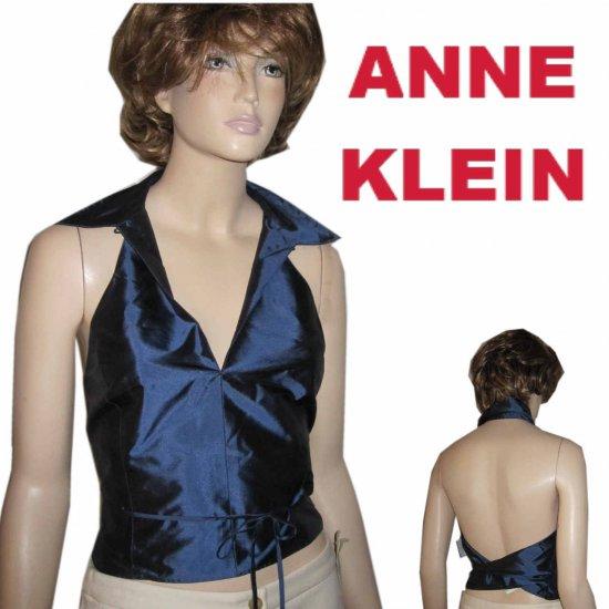 sz M ANNE KELIN Unique Wrap Body Silk Halter Vest - Sapphire $29.99 MSRP $153