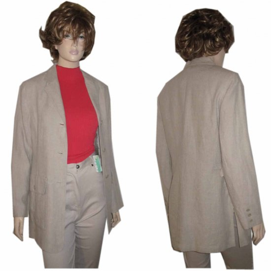 sz 8 ANNE KLEIN Natural Linen Jacket $29.99 - Retail $267