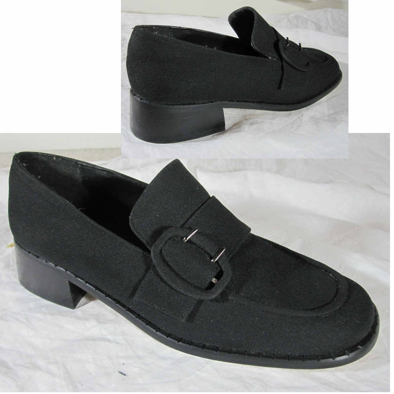 sz 7M Black Microfiber Buckle Loafers by A. Marinelli $19.99 Made in Spain