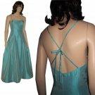 sz 10 SOUTHERN BELLE Satin Gown - Low Back by Chetta B - Aqua
