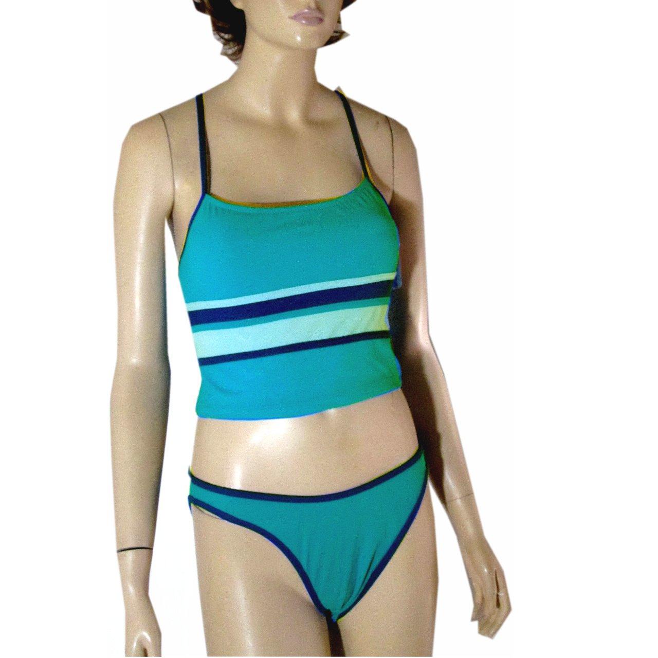 size Large Aqua & Blue Tankini Swimsuit by Beach Lingo $24.99