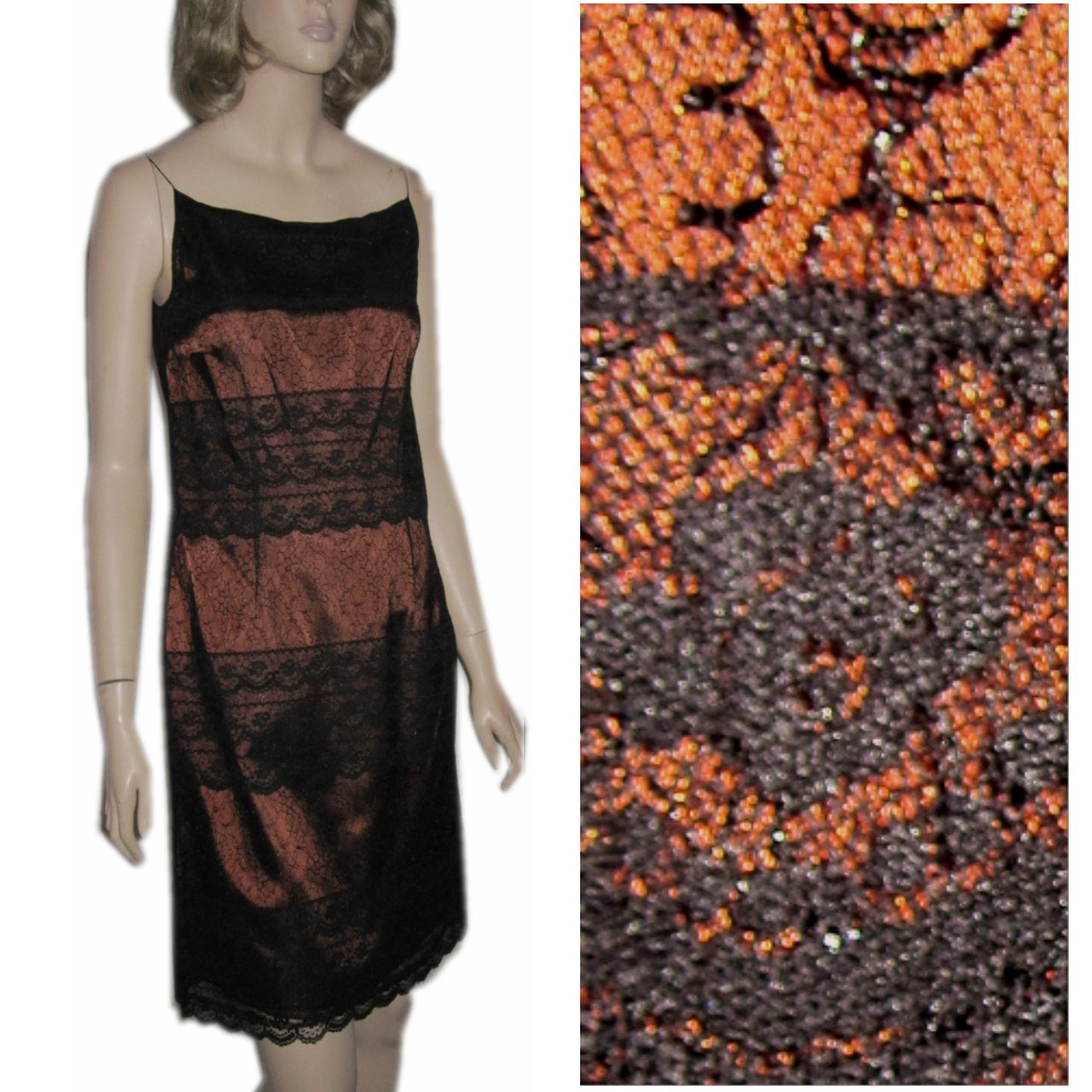 sz 6 CHANTILLY LACE over BRONZE SATIN Cocktail Dress by After Five $29.99 - List Price $268